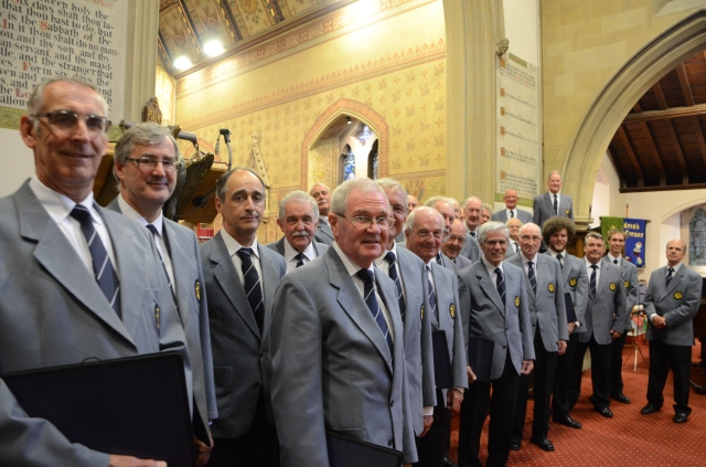 Malvern Male Voice Choir take their places in Holy Trinity
