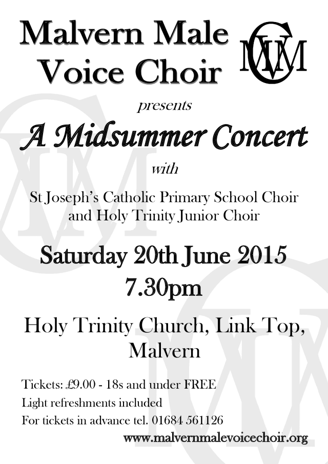 Malvern Male Voice Choir joined by St Joseph's Catholic Primary School Choir and Holy Trinity Junior Choir for Summer Finale.